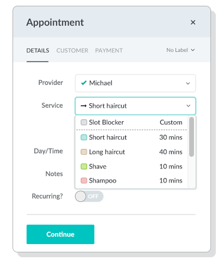The Appointment Menu Includes Dropdown Menus For Provider Service Day Time And
